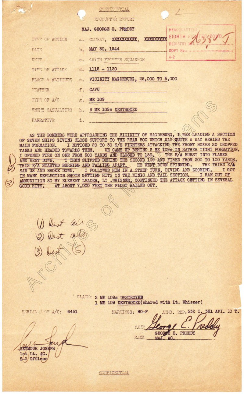 352nd FG Combat mission report, 30 May 1944, Major George E. Preddy